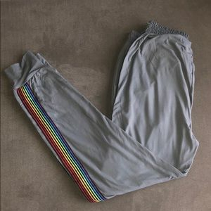 Women's Gray Rainbow 🌈 Stripe Pants